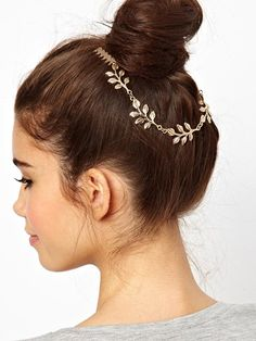 Metallic Leaves Hair Comb