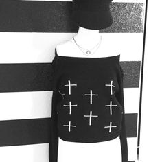 ➕HOST PICK➕BLACK CROSS SWEATER NWOT!!! Black crop ➕sweatshirtit can be worn on are off the shoulder..Purchased at Macy,sz lrg but it will def fit a sz med Material Girl Sweaters Crew & Scoop Necks