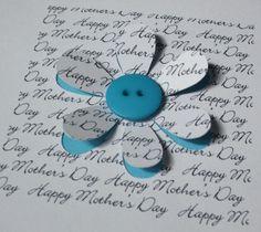 Mother's Day Card - Button Flowers Greeting Card for Mum - Mom - Paper Cut - Handmade Card - Personalised - Mothering Sunday - Mothers Day Handmade Greetings, Greeting Cards Handmade, Button Flowers, Paper Flowers, Cut Flowers, Cute Cards, Diy Cards, Tarjetas Diy, Karten Diy