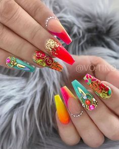 70 Alluring Acrylic Design Ideas This Summer - Page coffin nails long ideas - Coffin Nails Glam Nails, Hot Nails, Fancy Nails, Bling Nails, Ballerina Acrylic Nails, Best Acrylic Nails, Gorgeous Nails, Pretty Nails, Coffin Nails Long