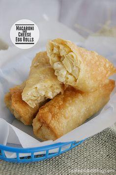 Macaroni and Cheese Egg Rolls from www.tasteandtellblog.com