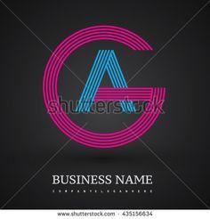 Letter AG or GA linked logo design circle G shape. Elegant red and blue colored letter symbol. Vector logo design template elements for company identity.
