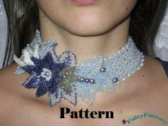Pattern Necklace Choker Flowers in the snow
