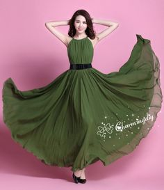947eaef2a492 110 Colors Chiffon Grass Green Long Sleeveless Skirt Party Dress Maternity  Wedding Sundress Summer H