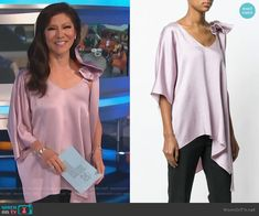 Julie's purple asymmetric top on Big Brother Big Brother Style, Julie Chen, Bow Blouse, Asymmetrical Tops, Valentino, One Shoulder, Fashion Outfits, Purple, Clothes