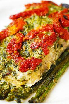 Pesto Sea Bass and Veggies