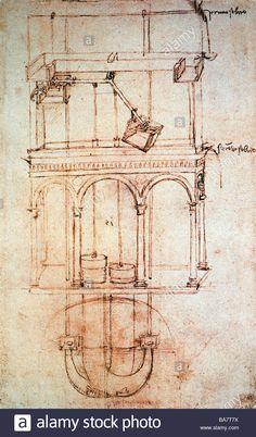 Leonardo da Vinci, 15.4.1452 - 2.5.1519, Italian artist (painter and sculptor), his work, technical drawing, draft of a hydrauli Stock Photo