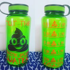 Custom Water Bottle, Custom Training Water Bottle, Personalized Gym Water Bottle, cut the crap water bottle, poop emoji water bottle Gym Water Bottle, Cute Water Bottles, Friend Gifts, Gifts For Friends, Cleaning With Bleach, Glitter Paint, Tumbler Cups, Drinkware, Color Show
