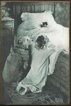 Wood Magnet~Little Girl~Cat~Dog~Bedtime Prayers~Vintage Style Photo Print~121