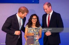 Britain's Prince William, Duke of Cambridge (R) and Prince Harry (L) present on of the inaugural Legacy Awards on behalf of the Diana Award to recipient Nikhiya Shamsher from Bangalore during a ceremony at St James' Palace in London on May 18, 2017. The Duke of Cambridge and Prince Harry presented a new award to twenty young people from across the world to recognise their kindness, compassion and service. The new award, presented on behalf of the Diana Award, honours the legacy of their…
