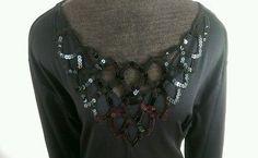 Womens Plus Size 3X Black Long Sleeve Sequin neckline