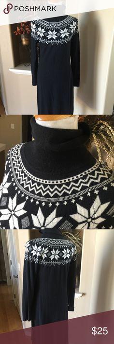 "Talbots Black & White Snowflake Sweater Dress Turtleneck sweater dress.  70% nylon 30% lambswool.  41"" from shoulder seam to hemline.  JS Talbots Dresses"