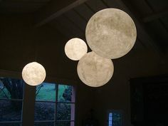 Moon lamps - Luna 1/2/3/4 diam. 35/50/70/120 cm. white Pendant E27 52w PL/105w PL/150w nebulite and policcarbonate