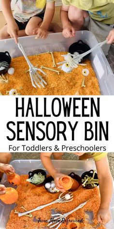 Toddler and Preschool Halloween Rice Sensory Bin