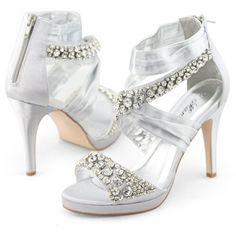 SHOEZY Womens Rhinestones Ruched Strap High Heel Platform Zip Sandals $65