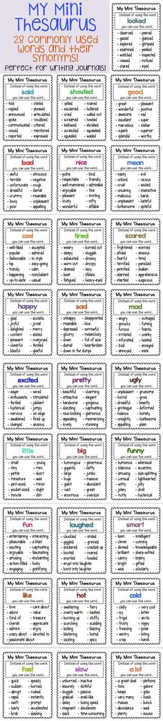 4f6c899ab Thesaurus Charts - synonyms for common words