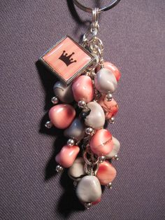 Pink and Grey Glass Beaded Purse Charm / Key Chain by FoxyFundanglesByCori, $10.00