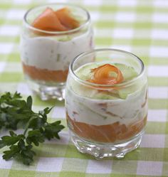 Verrine ricotta saumon concombre - Recette de cuisine Ôdélices