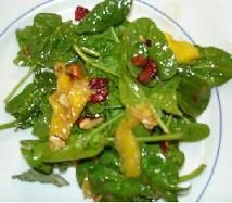 Spinach Mango Salad. Can use candied pecans and add avacados or feta cheese? And make dressing using evoo, rice wine vinegar and maple syrup