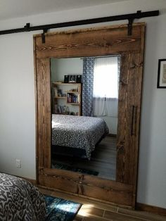 26 Rustic Bedroom Design and Decor Ideas for a Cozy and Comfy Space - The Trending House Closet Bedroom, Home Bedroom, Master Bedroom, Bedroom Ideas, Bedroom Pictures, Bedroom Wall, Master Bath, Mirror Closet Doors, Barn Door Closet