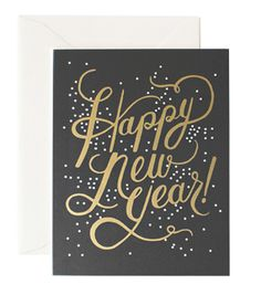 Shimmering New Year #card #foil #handlettering