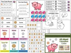 This is a resource for teaching Canadian coins/money to young learners. I created this for my Ontario FDK (Full Day Kindergarten) classroom but most of the activities should be appropriate for Grade 1 as well :) Here is what is included: * UPDATED on * Full Day Kindergarten, Homeschool Kindergarten, Preschool Math, Homeschooling, Money Activities, Educational Activities, Clarks, Learning Money, 1st Grade Math