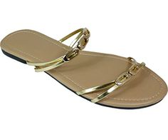 7922ddedf62 Peach Couture Womens Chic Summer Beach Strappy Flat Open Toe Sandal Gold 9   gt  gt