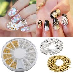 Gold & Silver 3D Design Nail Art Tip Metallic Studs Chain Decoration DIY + Wheel #UnbrandedGenenic