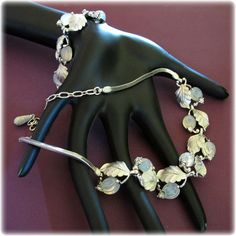 Pennino Pale Blue Molded Glass and Silver Tone Leaf Necklace and Bracelet Set
