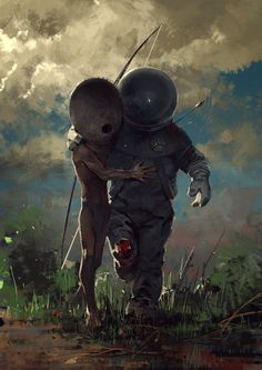 """Here's a fantastic spaceman themed illustration called """"help"""" that features an alien helping a wounded astronaut. It was created by Deviant Art user Svjeeta, and is magical. Les Aliens, Aliens And Ufos, Arte Sci Fi, Sci Fi Art, Fantasy Kunst, Fantasy Art, Art Alien, Bel Art, Sci Fi Kunst"""