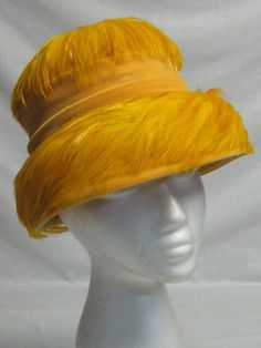1960's Yellow Gold Colored Feathers & Velour Bucket Hat Very Chic!