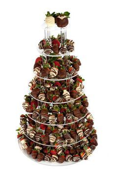 7 Tier strawberry tower with 210 hand dipped Belgian chocolate strawberries look at the bride & groom on the top tier (chocolate bouquet cake) Strawberry Wedding Cakes, Wedding Strawberries, Chocolate Strawberries, Wedding Cupcakes, Belgian Chocolate, Best Chocolate, Chocolate Dipped, Chocolate Art, Chocolate Cakes