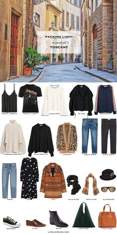 What to Pack for the Tuscany Packing Light List - Top Trends Fall Packing, Travel Packing Outfits, Fall Travel Outfit, Travel Capsule, Packing List For Travel, Packing Light, Packing Shoes, Capsule Wardrobe, Travel Wardrobe