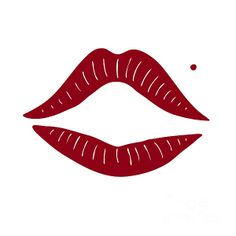 Red lips drawing. Fashion art, pop art print.