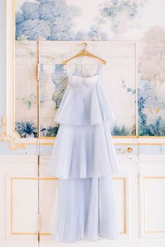 French inspired details + a chic blue wedding dress in this gold + blue editorial - 100 Layer Cake Blue Wedding Dresses, Wedding Gowns, Flower Girl Dresses, Party Wedding, Summer Wedding, Color Inspiration, Wedding Inspiration, Im So Fancy, Hair Wreaths