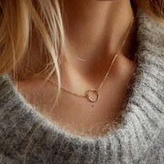 Gold Circle Necklace, Gold Necklace Simple, Cute Necklace, Dainty Necklace, Gold Necklaces, Layered Necklace, Disc Necklace, Pendant Necklace, Short Necklace