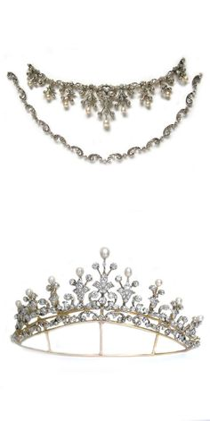 Victorian natural pearl and diamond tiara, comprising nine floral motifs all set with old brilliant-cut diamonds, estimated to weigh a total of 10 carats, each surmounted with natural pearls, all set in silver to a yellow gold mount, detachable from frame and convertible to necklace with ornate diamond-set floral chain, gross weight 25.14 grams, circa 1870. Images Bentley & Skinner