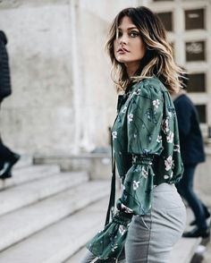 Caroline Receveur spring outfit with floral prints. #spring #springtime #french #carolinereceveur #florals #floralprints #lookoftheday #fabfashionfix