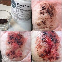 Instant gravel rash using instant coffee and latex. By no means a new trick but still an effective way of creating a gravel rash or a scab quickly. Add one layer of latex and let it dry. Add a second layer and when it's still wet sprinkle ground instant coffee over it. Add one more layer of latex over the top of everything. Powder to remove the shine then colour and add blood to finish. #specialfx #specialeffects #specialeffectsmakeup #sfx #sfxmakeup #fxmakeup #fx #makeup #makeupartist #mua