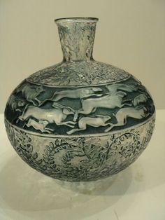 "Rene Lalique ~ ""Lievres"" (Rabbits) Art Glass Vase, ca."