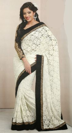 Adorable Off White Embroidered #Saree