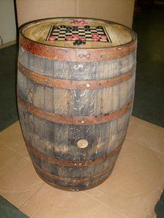 Aged Re-purposed Oak Whiskey Barrel Table c/Checker Board-Checkers #AuntMollys