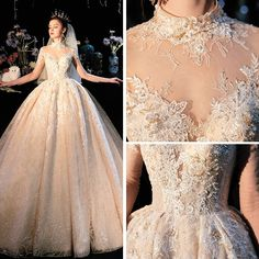 Fabulous Champagne See-through Wedding Dresses 2019 Ball Gown High Neck Sleeve Backless Appliques Lace Beading Glitter Tulle Cathedral Train Ruffle - Fabulous Champagne See-through Wedding Dresses 2019 Ball Gown High Neck Sleeve Backless Appliqu - Greek Wedding Dresses, Simple Wedding Gowns, Bridal Dresses, Tulle Wedding, Lace Dress With Sleeves, Dress Lace, Braut Make-up, Beautiful Gowns, Corsage