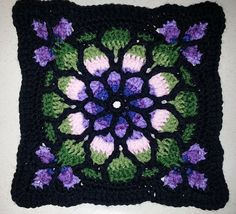 Stained Glass Afghan Square | ... Gallery for Stained Glass Window Afghan pattern by Melody MacDuffee