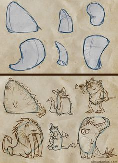 Fun with shapes - using shapes to create characters. Lackadaisy artist Tracy Butler gives tips on Character design. Good stuff. ★ Find more at http://www.pinterest.com/competing