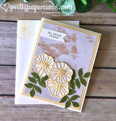 A Rustic Hello! - Pretty Paper Cards  oh so eclectic, Stampin' Up! Demonstrator,  hello friend card created by Peggy Noe, wood words designer series paper