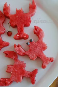 Watermelon lobsters! Made with a cookie cutter of course : )