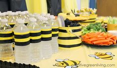 How to Throw a Bee Party on a Dollar Store Budget ~ Creative Green Living Throw a fabulous bee party on a budget! Post includes 16 great party ideas that you can make yourself or buy from the dollar store. Baby Shower Snacks, Budget Baby Shower, Baby Shower Themes, Shower Ideas, Party Food On A Budget, Bee Food, Bumble Bee Birthday, Bee Gender Reveal, Mommy To Bee