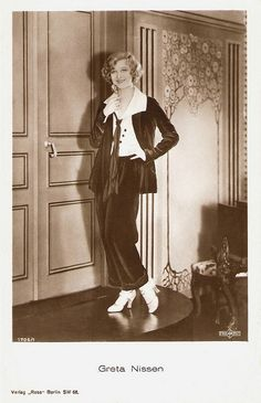 Greta Nissen, German star,  velvet suit - nouveau wall home decor  1920s