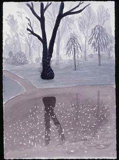 "David Hockney  ""Hand Eye Heart"" Watercolors of the East Yorkshire Landscape, Rainy Morning. Holland Park, 2004"